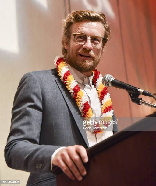 Director/actor Simon Baker speaks onstage at the 37th Annual Hawaii International Film Festival Gala presented by Halekulani on November 10 2017 in...