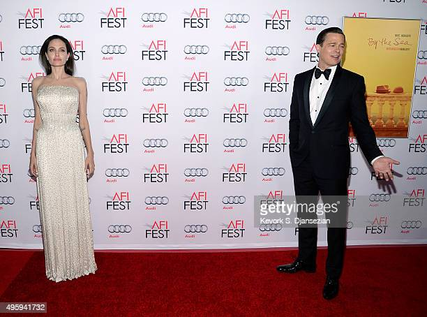 Director/Actress Angelina Jolie Pitt and actor/producer Brad Pitt pose during the opening night gala premiere of Universal Pictures' 'By the Sea''...