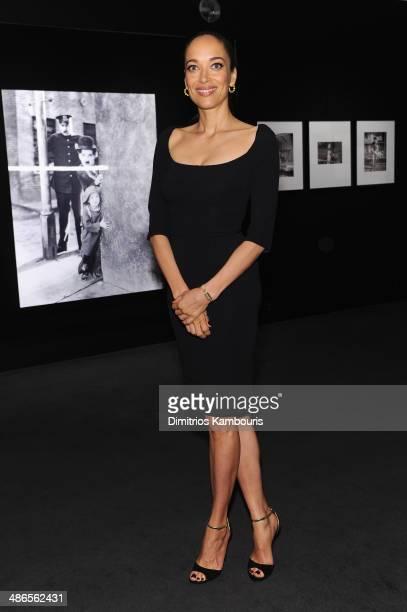 Director/actress Carmen Chaplin wearing a JaegerLeCoultre vintage Reverso Duoplan watch attends the Charlie Chaplin 'Chaplin Forever' exhibition...