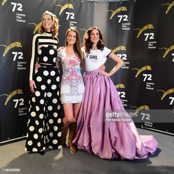 Director/Actress Dawn Luebbe Producer Natalie Metzger and Director/Actress Jocelyn DeBoer attend the 'Greener Grass' during the 72nd Locarno Film...