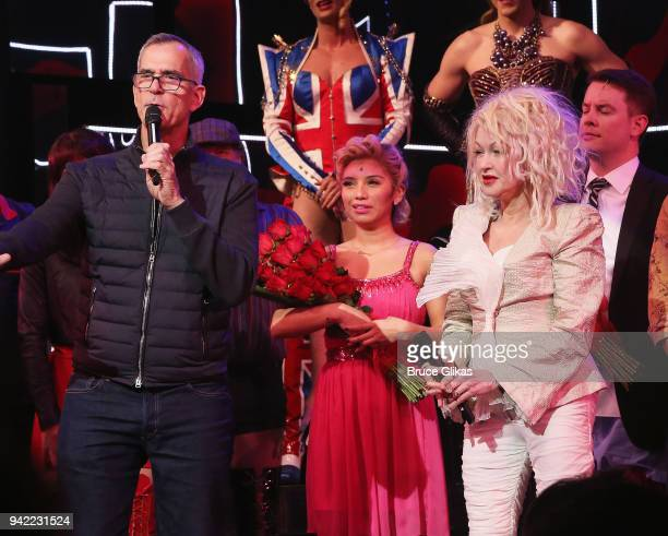 Director/Choreographer Jerry Mitchell and Composer Cyndi Lauper make speeches and celebrates onstage as the hit musical Kinky Boots celebrates it's...