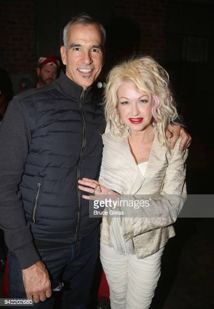 Director/Choreographer Jerry Mitchell and Composer Cyndi Lauper pose backstage as the hit musical Kinky Boots celebrates it's 5th Anniversary on...