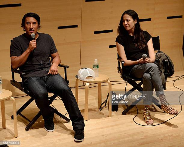 "Director/climber Jimmy Chin and director Elizabeth Chai Vasarhelyi speak at the 2015 Film Society Of Lincoln Center Summer Talks with ""Meru"" at..."
