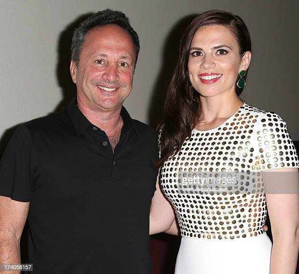 Director/CoPresident Marvel Studios Louis D'Esposito and actress Hayley Atwell attend the Marvel OneShot Comic Con screening on July 19 2013 in San...