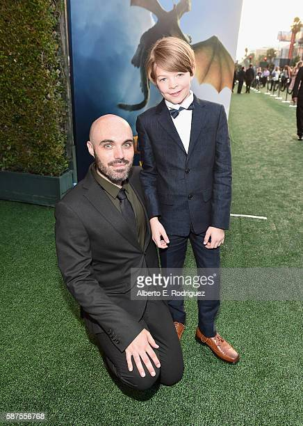 Director/coscreenwriter David Lowery and actor Oakes Fegley arrive at the world premiere of Disney's PETE'S DRAGON at the El Capitan Theater in...