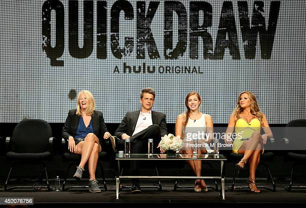 Director/creator Nancy Hower actor/creator John Lehr actors Alexia Dox and Allison Dunbar speak onstage at the 'Quick Draw' panel during the Hulu...