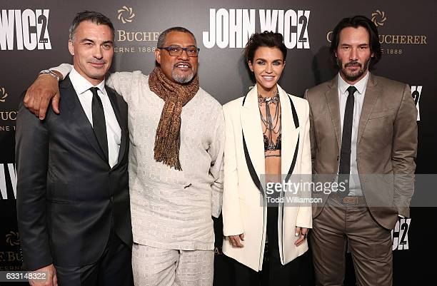 Director/Executive Producer Chad Stahelski Laurence Fishburne Ruby Rose and Keanu Reeves attend the Premiere Of Summit Entertainment's 'John Wick...
