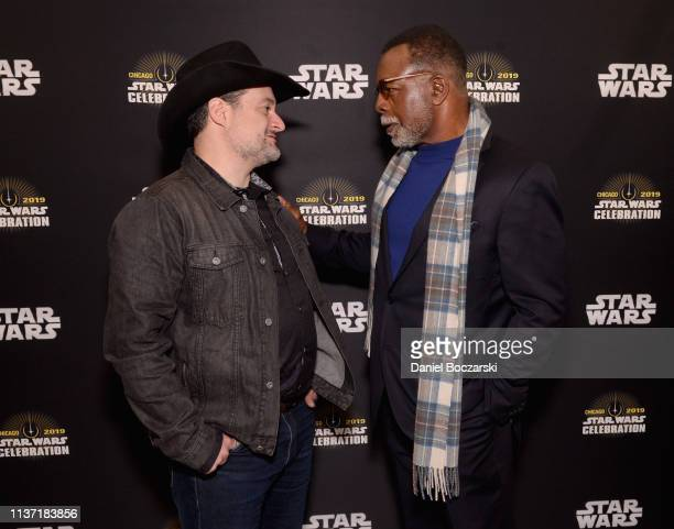 """Director/executive producer Dave Filoni and Carl Weathers attend """"The Mandalorian"""" panel at the Star Wars Celebration at McCormick Place Convention..."""
