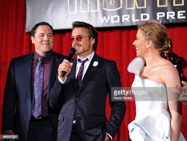 Director/executive producer Jon Favreau, actor Robert Downey Jr. And actress Scarlett Johansson speak at the world premiere of Paramount Pictures and...