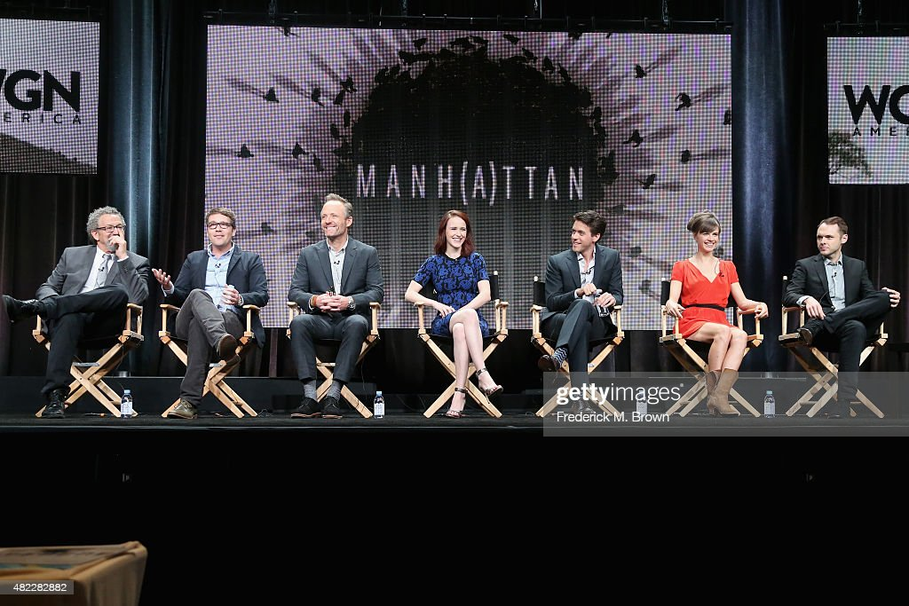 Director/executive producer Thomas Schlamme, creator/writer/executive producer Sam Shaw, actors John Benjamin Hickey, Rachel Brosnahan, Ashley Zukerman, Katja Herbers and Christopher Denham speak onstage during the 'Manhattan' panel discussion at the WGN America portion of the 2015 Summer TCA Tour at The Beverly Hilton Hotel on July 29, 2015 in Beverly Hills, California.