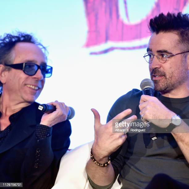 Director/executive producer Tim Burton and actor Colin Farrell speak onstage during the 'Dumbo' Global Press Conference at The Beverly Hilton Hotel...