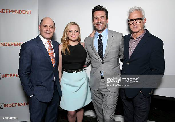 Director/executive producer/writer Matthew Weiner and actors Elisabeth Moss Jon Hamm and John Slattery attend a 'Mad Men' Live Read and Series Finale...