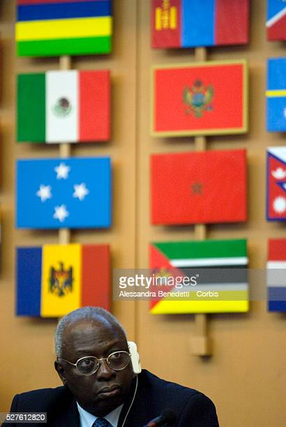 FAO DirectorGeneral Jacques Diouf at the podium during the opening the Second Summit of the NonAligned Movement of First Ladies held in conjunction...