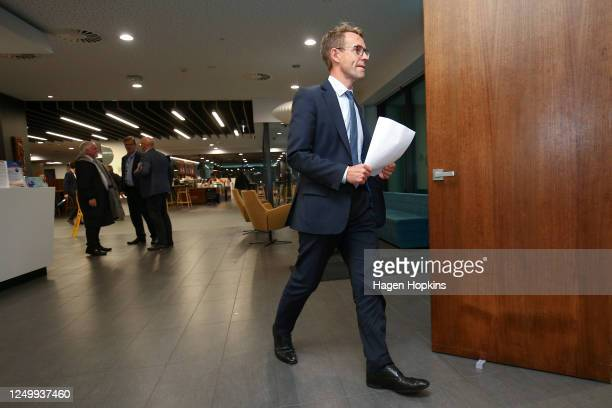 DirectorGeneral of Health Dr Ashley Bloomfield arrives at a press conference at the Ministry of Health on June 16 2020 in Wellington New Zealand Two...