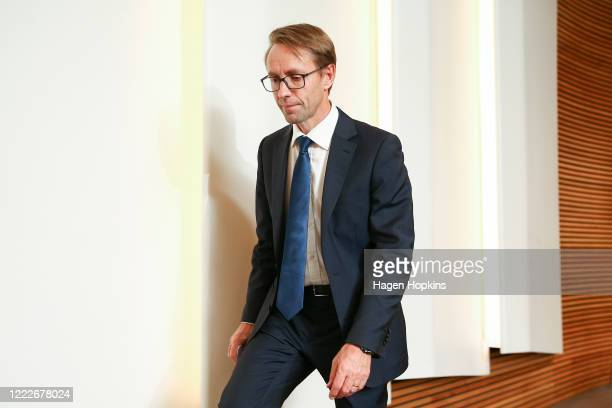 DirectorGeneral of Health Dr Ashley Bloomfield makes an exit after a press conference at Parliament on May 04 2020 in Wellington New Zealand...