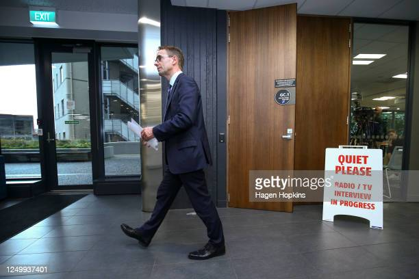 DirectorGeneral of Health Dr Ashley Bloomfield makes an exit after a press conference at the Ministry of Health on June 16 2020 in Wellington New...