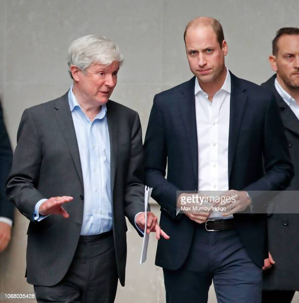 Director-General of The BBC Lord Tony Hall accompanies Prince William, Duke of Cambridge as he visits The BBC to view the work the broadcaster is...
