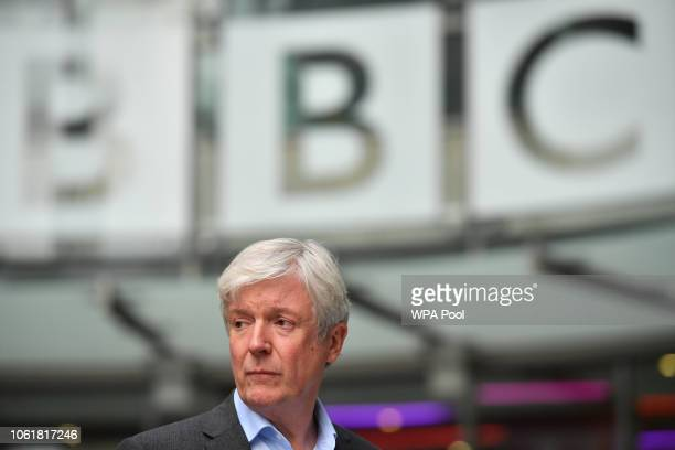 Director-General of the BBC Tony Hall is seen waiting to greet Prince William, Duke of Cambridge, and Catherine, Duchess of Cambridge, as the royal...