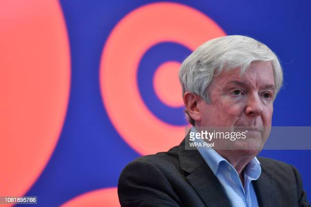 DirectorGeneral of the BBC Tony Hall listens during a visit by Prince William Duke of Cambridge to BBC Broadcasting House on November 15 2018 in...