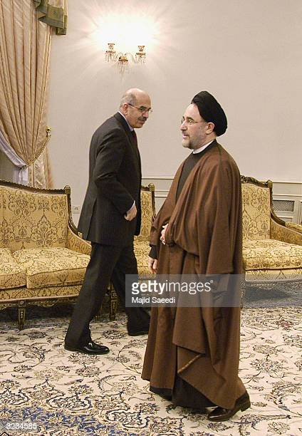 Director-general of the International Atomic Energy Agency, Mohammad El Baradei meets Iranian President Khatami, April 6, 2004 in the Iranian capital...