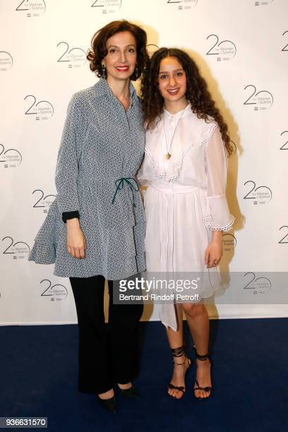 DirectorGeneral of the UNESCO Audrey Azoulay and actress Oulaya Amamra attend the 2018 L'Oreal UNESCO for Women in Science Awards Ceremony at UNESCO...