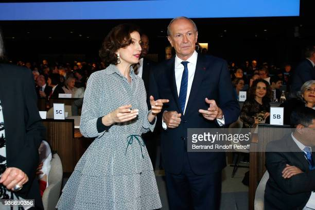 DirectorGeneral of the UNESCO Audrey Azoulay and Chairman Chief Executive Officer of L'Oreal and Chairman of the L'Oreal Foundation JeanPaul Agon...