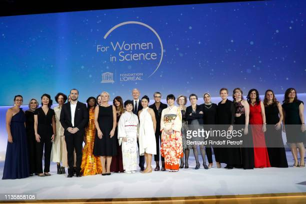 Director-General of the UNESCO, Audrey Azoulay, Chairman & Chief Executive Officer of L'Oreal and Chairman of the L'Oreal Foundation Jean-Paul Agon...
