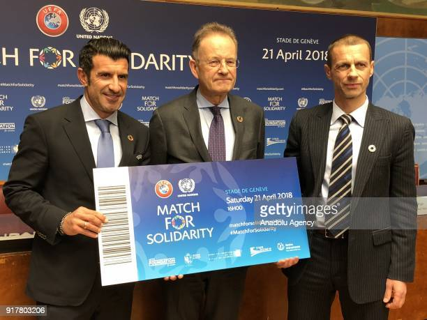 DirectorGeneral of the United Nations Office in Geneva Michael Moller UEFA President Aleksander Caferin and Legendary football star and current UEFA...