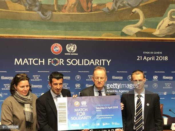 DirectorGeneral of the United Nations Office in Geneva Michael Moller UEFA President Aleksander Caferin Legendary football star and current UEFA...