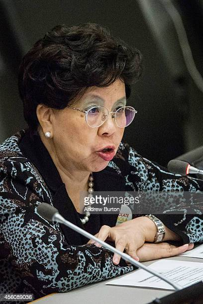 DirectorGeneral of the World Health Organization Dr Margaret Chan speaks at a special highlevel meeting regarding the Ebola virus outbreak in west...