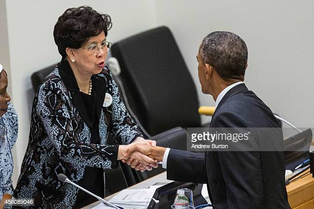 DirectorGeneral of the World Health Organization Dr Margaret Chan shakes hands with US President Barack Obama during a special highlevel meeting...