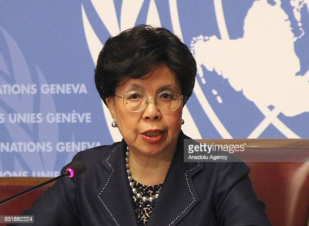 DirectorGeneral of the World Health Organization Margaret Chan informs the media during a press conference on Zika virus and Rio olympics at United...