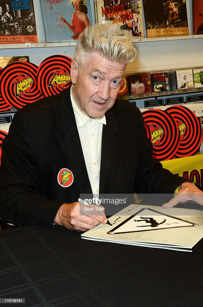 Director/musician David Lynch signs copies of his new album 'The Big Dream' at Amoeba Music on July 16, 2013 in Hollywood, California.