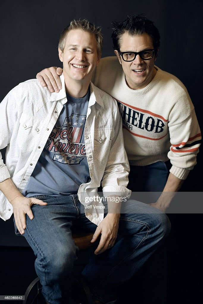 Director/producer Daniel Junge (L) and producer Johnny Knoxville of 'Being Evel' pose for a portrait at the Village at the Lift Presented by McDonald's McCafe during the 2015 Sundance Film Festival on January 26, 2015 in Park City, Utah.