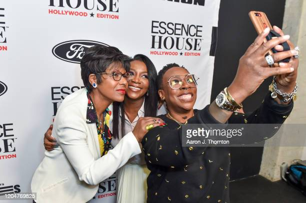 Director/Producer Euzhan Palcy Director/Producer Genevieve Nnaji and Comedian/Producer Gina Yashere take a selfie backstage during ESSENCE House...