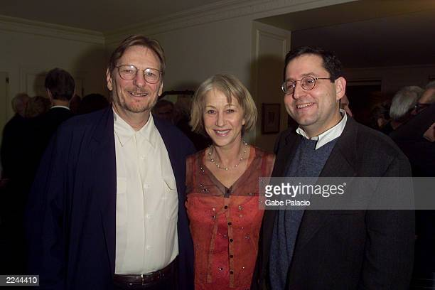 Director/producer Fred Schepisi actress Helen Mirren and Michael Barker co president of Sony Pictures Classics at a party following a private...