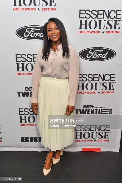 Director/Producer Genevieve Nnaji poses backstage during ESSENCE House Hollywood Edition at NeueHouse Los Angeles on February 07 2020 in Hollywood...