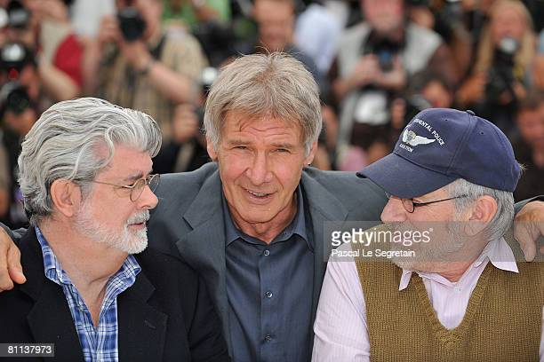 Director/producer George Lucas actor Harrison Ford and Director Steven Spielberg pose at the Indiana Jones and The Kingdom of The Crystal Skull...