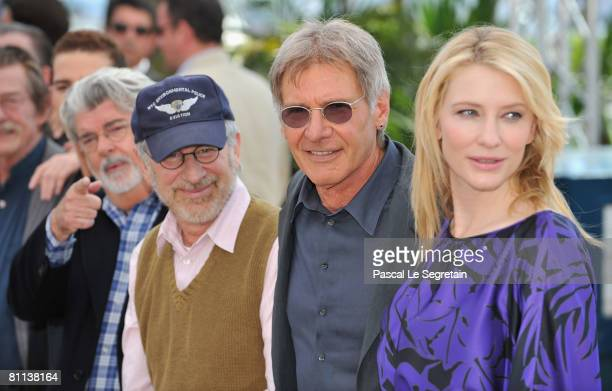 Director/producer George Lucas director Steven Spielberg Harrison Ford and Cate Blanchett pose at the Indiana Jones and The Kingdom of The Crystal...