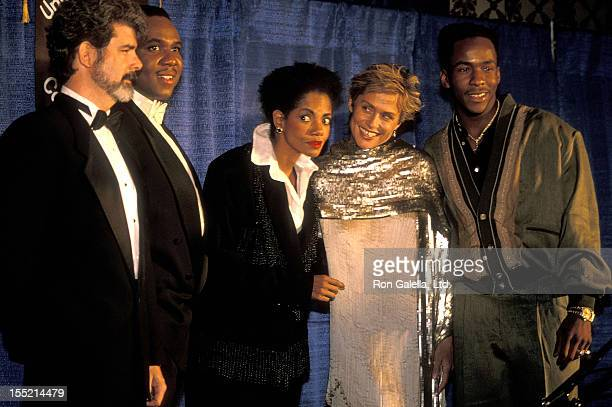Director/Producer George Lucas singer Freddie Jackson singer Melba Moore model Lauren Hutton and singer Bobby Brown attend the United Negro College...