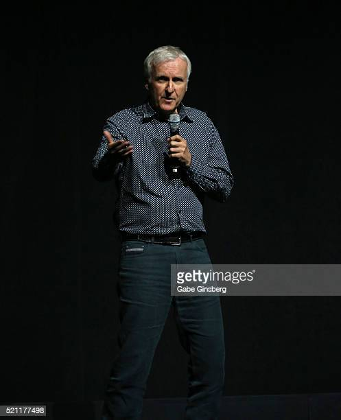 Director/producer James Cameron speaks during 20th Century Fox's special presentation highlighting its future release schedule at The Colosseum at...