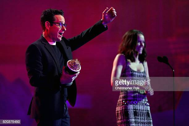 Director/producer JJ Abrams and actress Daisy Ridley accept the award for Movie of the Year for 'Star Wars The Force Awakens' onstage during the 2016...