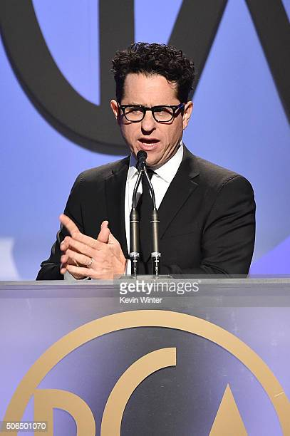 Director/producer J.J. Abrams speaks onstage at the 27th Annual Producers Guild Of America Awards at the Hyatt Regency Century Plaza on January 23,...
