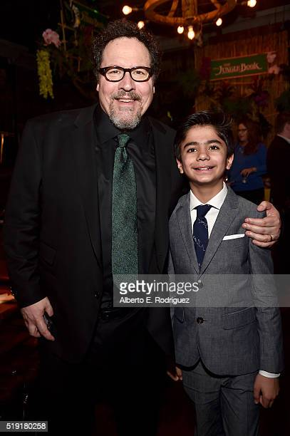 Director/producer Jon Favreau and Neel Sethi attend The World Premiere of Disney's 'THE JUNGLE BOOK' at the El Capitan Theatre on April 4 2016 in...