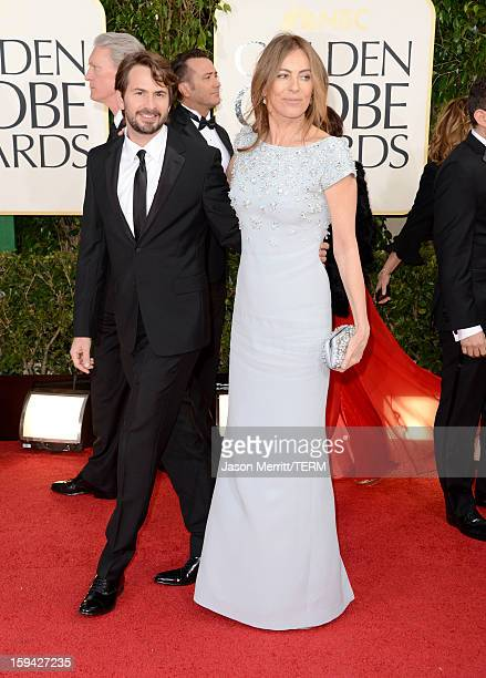 Director/Producer Kathryn Bigelow and writer/Producer Mark Boal arrive at the 70th Annual Golden Globe Awards held at The Beverly Hilton Hotel on...