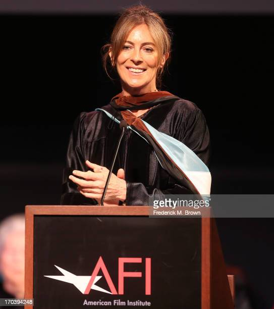 Director/producer Kathryn Bigelow speaks during the 2013 AFI Conservatory Commencement Ceremony at the El Capitan Theatre on June 12 2013 in...