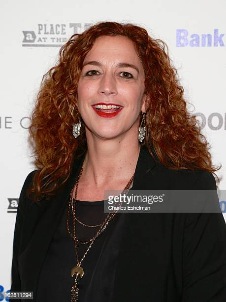 Director/producer Kristi Jacobson arrives at Bank of America and Food Wine with The Cinema Society present a screening of 'A Place at the Table' at...