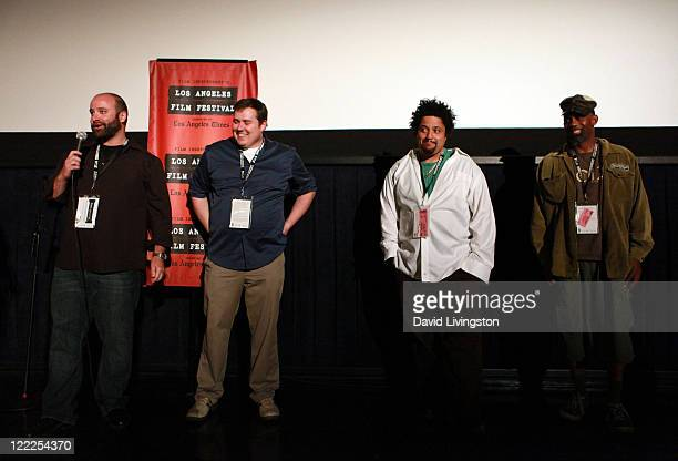 Director/producer Lev Anderson director/producer Chris Metzler and musicians Christopher Dowd and Norwood Fisher of Fishbone speak onstage during the...
