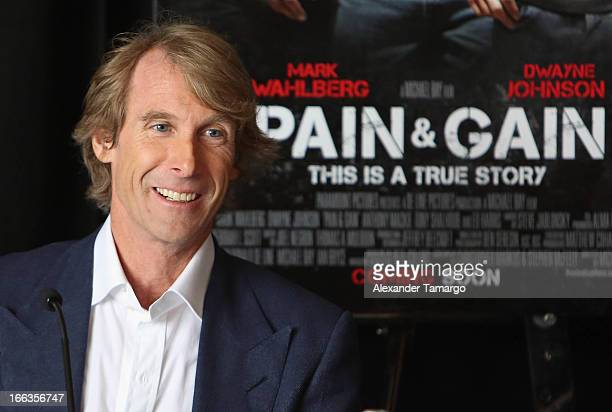 Director/producer Michael Bay attends the press conference of the Miami Premiere of 'Pain Gain' at Mandarin Oriental on April 11 2013 in Miami Florida