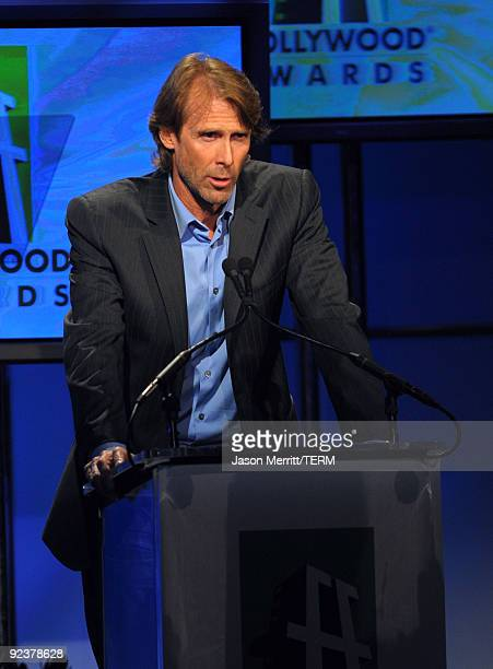 Director/Producer Michael Bay presents the Visual Effects award onstage during the 13th annual Hollywood Awards Gala Ceremony held at The Beverly...
